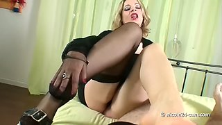 Sexy Nylon Handjob Cum inside a Black Stocking