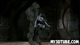 Foxy 3D cartoon babe getting fucked by an orc