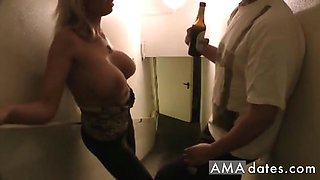 In the appartment building a drunk dude picked up this hot sexy big tits girl