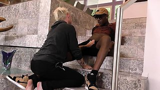 Blonde twink gets fucked hard by a gay black guy