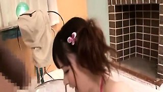 Subtitled CFNM Japanese string bikini dress up time