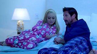 Busty Latina gal seduced blonde stepmom behind sleeping dad
