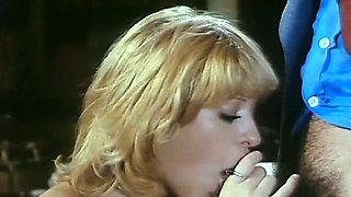 Cute sweet French blonde girl sensually licks the tip of the dick