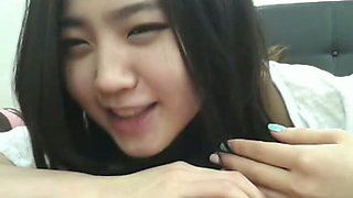 Cute Korean brunette girl taped her own just perfect solo in the bathroom