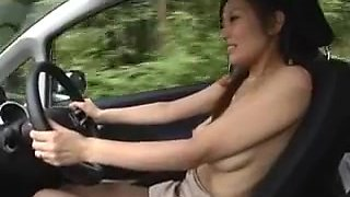 japanese cute girl drives a car