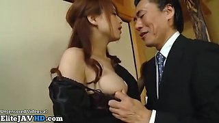 Japanese wife gets fucked by the rude boss of her husband