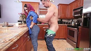 Middle Eastern brunette maid gets properly fucked from behind in the kitchen