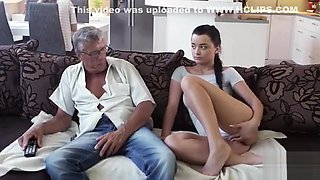 Daddy4k Raven Haired Angelface Is Ready For Old And Young