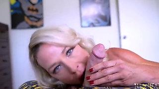 Hot Blonde MILF Stepmom Fucks Her Stepson and His Teacher