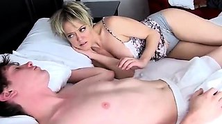 Horny short hair milf riding stepsons cock bouncing her huge