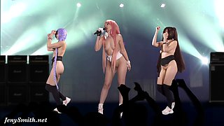 Naked Singer on stage. Virtual Reality