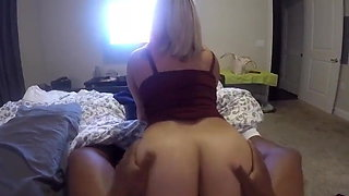 Big booty blonde taking black dick showing her hot ass