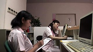 Japanese babe in schoolgirl uniform masturbates