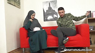 Hot Muslim milf pays for service with her body