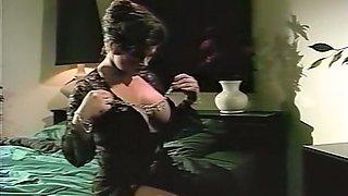 Mesmerizing brunette milf in black dress seduced by redhead milf