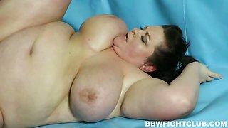Naked BBW wrestling match