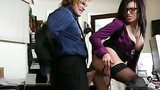 Big breasted secretary receives hard pounding from the boss