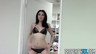 Horny brunette babe at the realtor office