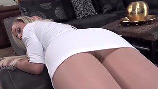 White Dress and Pantyhose Striptease