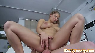Brunette with big natural tits loves to ride her boyfriends hard dick