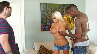 Black cock for greedy blonde