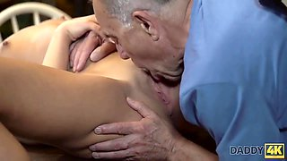 Young brunette fucking an old guy here