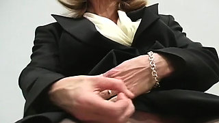 Chick in hose spreads thighs to show her lustful clitoris