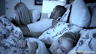 Busty blond fairy Marsha May gives a head to brutal stud while his wifey was sleeping