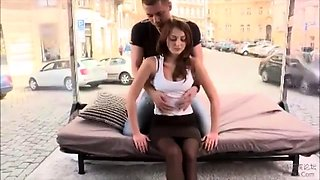 Sultry European beauty in stockings gets creampied in public