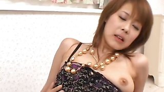 Sakurako\'s shaved pussy filled with jizz