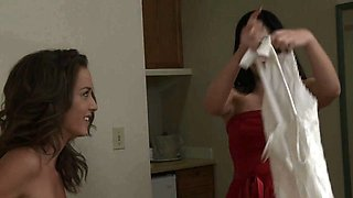 Bride to be pussylicked by busty lesbian