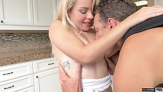 Cute blondie Skylar Valentine is fucked and fed with cum by horny step daddy