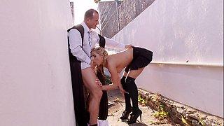 smoking hot blonde schoolgirl Christen enjoys pleasuring a fat dick