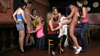 Czech CFNM hen party with 6 teens
