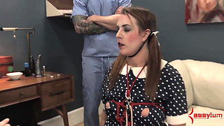 Doll girl gets face fucked, ass fucked, and fed ass and cum