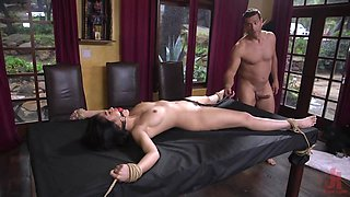 Helpless Asian girl banged in all holes by Latin master