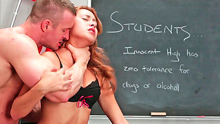 Marina Angel is fucking in the classroom with her teacher