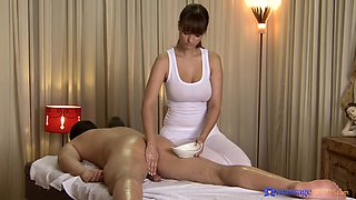 Smooth pussy pounding on the massage bed with sexy Rita Peach