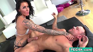 Submissive man licks hot babe's pussy before she fucks his ass with a strapon