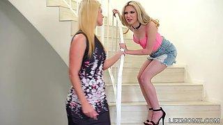 Tricky Stepmom Switcheroo Lesbian Threeseome!