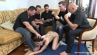 Russian cutie fucked by 5 guys double anal