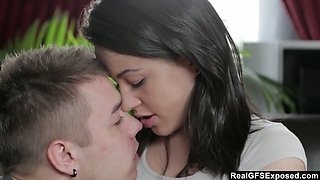 Real girlfriend Iza is making love with her romantic boyfriend