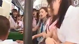 Lucky boy on japanese school bus