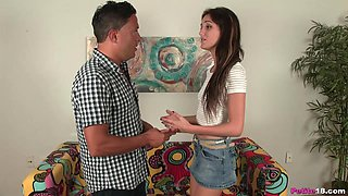 Teen beauty gets her pussy soaked in hardcore manners
