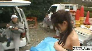 Subtitled Japan outdoor micro bikini public nudity dare