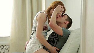 Charming redhead teen Sara C's poontang licked and banged