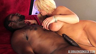 Alura Jenson oiled up before bending over for a black member