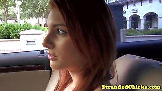 Beautiful busty teen getting a public facial