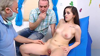 Physician assists with hymen checkup and defloration of virgin girl
