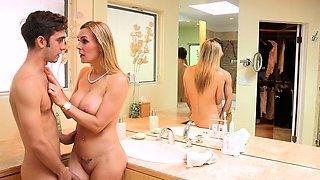 Kinky cougar seduces teens into cummy trio
